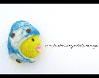 Chik in his eggs- Needle felted wool - Natural and ecofriendly