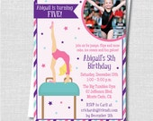 Gymnastics Birthday Photo Invitation - Gymnastics Themed Birthday - Digital Design or Printed Invitations - FREE SHIPPING