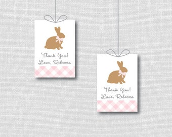 Printable easter tag etsy printable pink bunny favor tags easter gift tags bunny themed party customized with negle Image collections