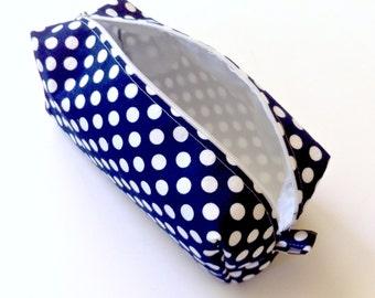 Polka Dot Pencil Case, Navy Blue Cosmetic Case