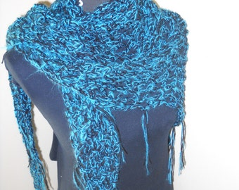 Triangle Wrap / Lacy Shawl with Fringe- Black / Electric Blue - Lightweight for Year Round Wear