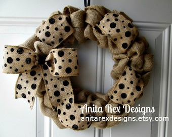 Burlap Wreath, Polka Dot Wreath, Burlap Bubble Wreath, Burlap Bow, All Year Wreath
