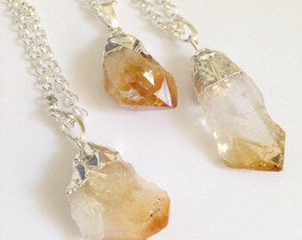 Silver dipped citrine quartz crystal necklace