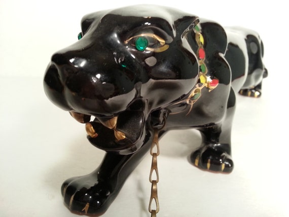 1950s Ceramic Stalking Black Panther With Jeweled Eyes