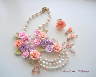 Necklace with pearls, Earrings with flowers, rose ring, wedding jewelry, party necklace