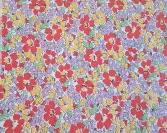 Vintage Cotton Feedsack Fabric Quilting Lavender Floral  21 x 9