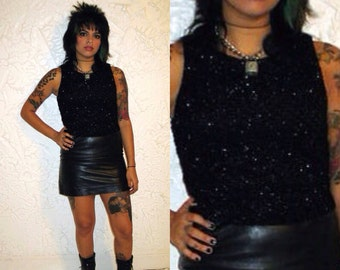 Vintage 90s ANDREA POLIZZI for Rex Lester Shiny Mesh Black Tanktop Sz S