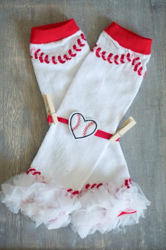 Baseball Leg Warmer and Headband Set- Baseball Headband or Clip-- Baby Girl Headband- Birthday Headband- Spring