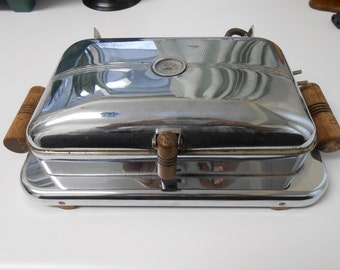 Vintage Super Electric Griddle Sandwich Press Grill Chrome