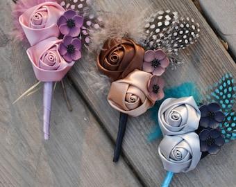 wedding fabric flower boutonniere  vintage feather
