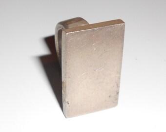 Ring vintage industrial brutal metal Size 5.5 silver tone