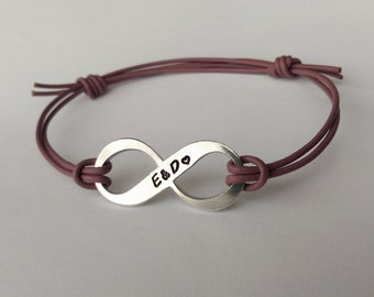 Hand stamped personalised Infinity leather cord adjustable bracelet - personalised couples bracelet - personalised gift present for him her