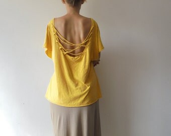 Vintage Yellow Tshirt.Women Tshirt.Loose Style Blouse.Open Back Blouse.Summer Top.