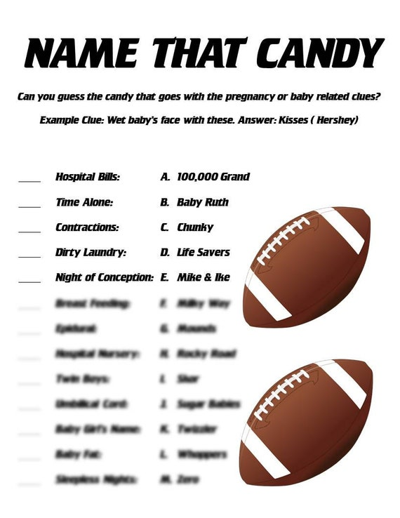 Name that candy baby shower game football themed shower for Food bar games free online