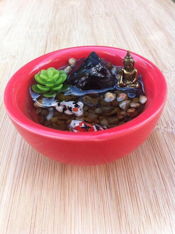 Resin koi fish pond with miniature bronze buddha for Resin koi fish