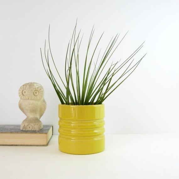 Vintage Ceramic Planter Yellow Ceramic Pot Small Flower