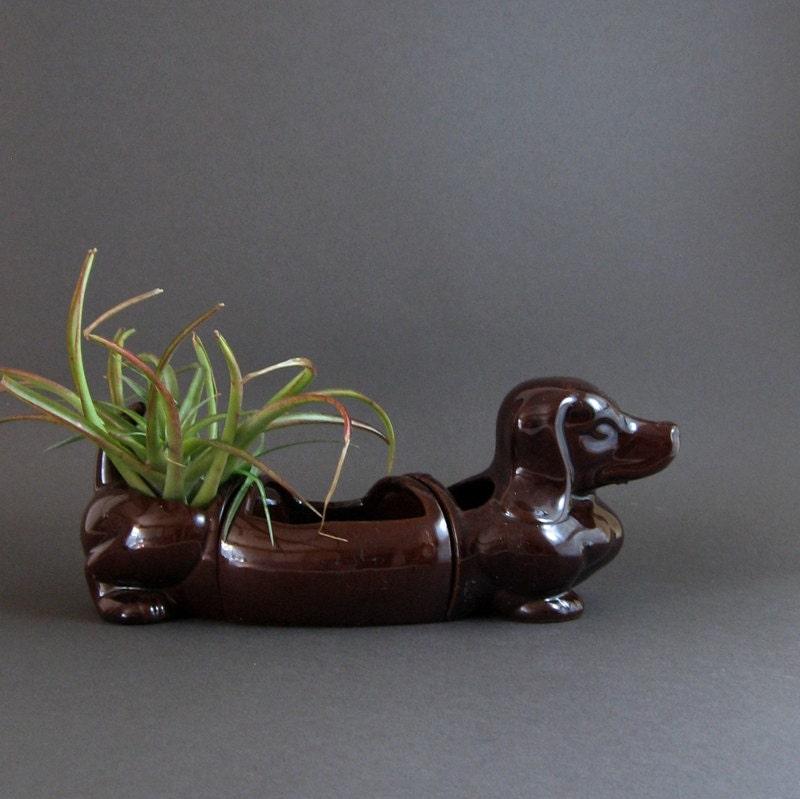 Vintage Ceramic Dachshund Planter Chocolate Brown Wiener Dog