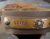 Custom Stamped Bracelet ... Dark Copper with Antiqued Gold Filigree Flower on Leather Wrap Around Cuff