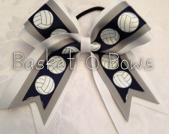 Small NAVY BLUE Volleyball Glitter Hair Bow ~ Made to Order