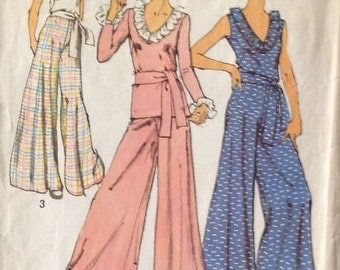 Simplicity 5610 - Misses BLOUSE and WIDE LEG PANTs, Size 8, Bust 31-1/2, Waist Size 24 - Seventies Fashion, Trends