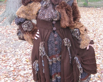 50% off!     Wearable art Handknitted long sweater/ coat/jacket. Free shipping in USA.