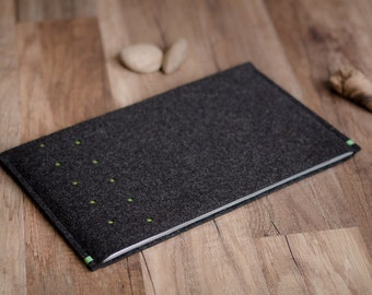 Pixel C, Nexus 10 case sleeve, dotted anthracite felt with a touch of color