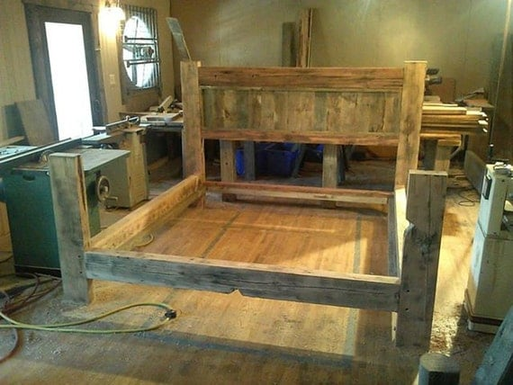 Furniture Rustic Wood Bed Headboards With Mantel Having: Items Similar To Reclaimed Barn Wood Bed Frame On Etsy