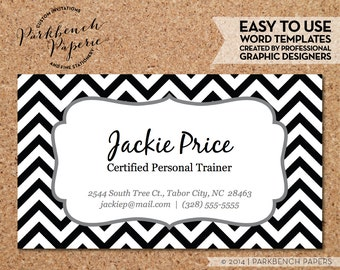 Business Card Template - Black Chevron & Frame -  DIY Editable Word Template, Instant Download, Printable