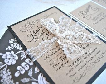 Rustic Romantic Lace Wedding Invitation