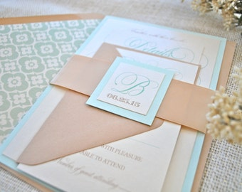 Blue, Ivory, Taupe Wedding Invitation, Mint, Champagne- Sophisticated (NOT A SAMPLE LISTING) Colors/Wording/Materials Customizable
