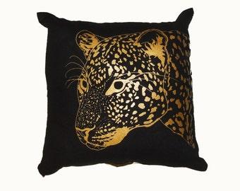 Gold & Black Leopard cushion- screenprint -leopard - Art