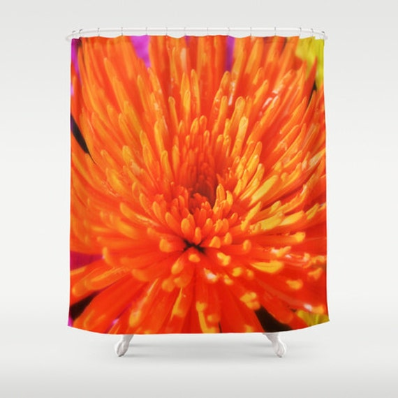 Orange Chrysanthemum Shower Curtain Bohemian By NatureCity