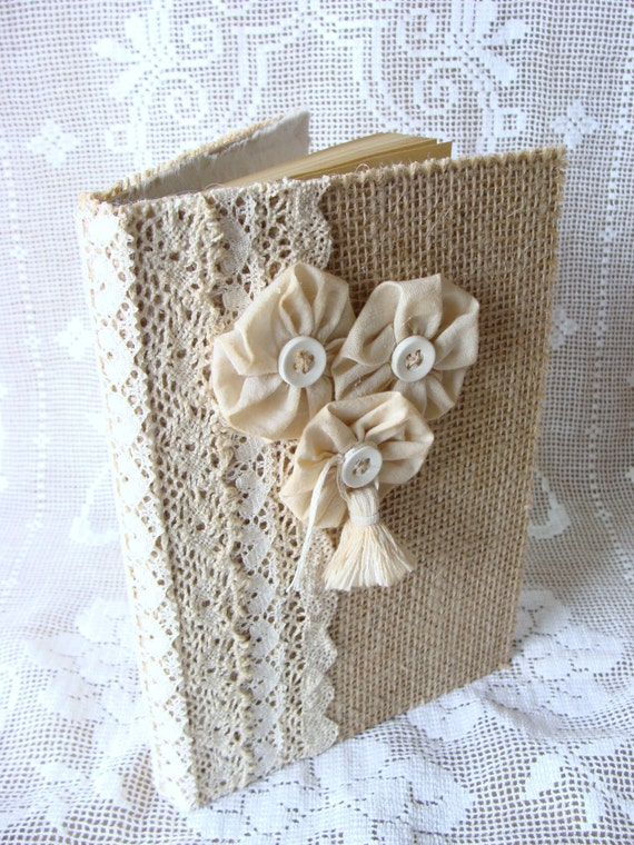Burlap and Lace Guest Book Journal Diary Notebook Wedding Guestbook Prayer Journal Tattered Shabby handmade Fabric Flowers