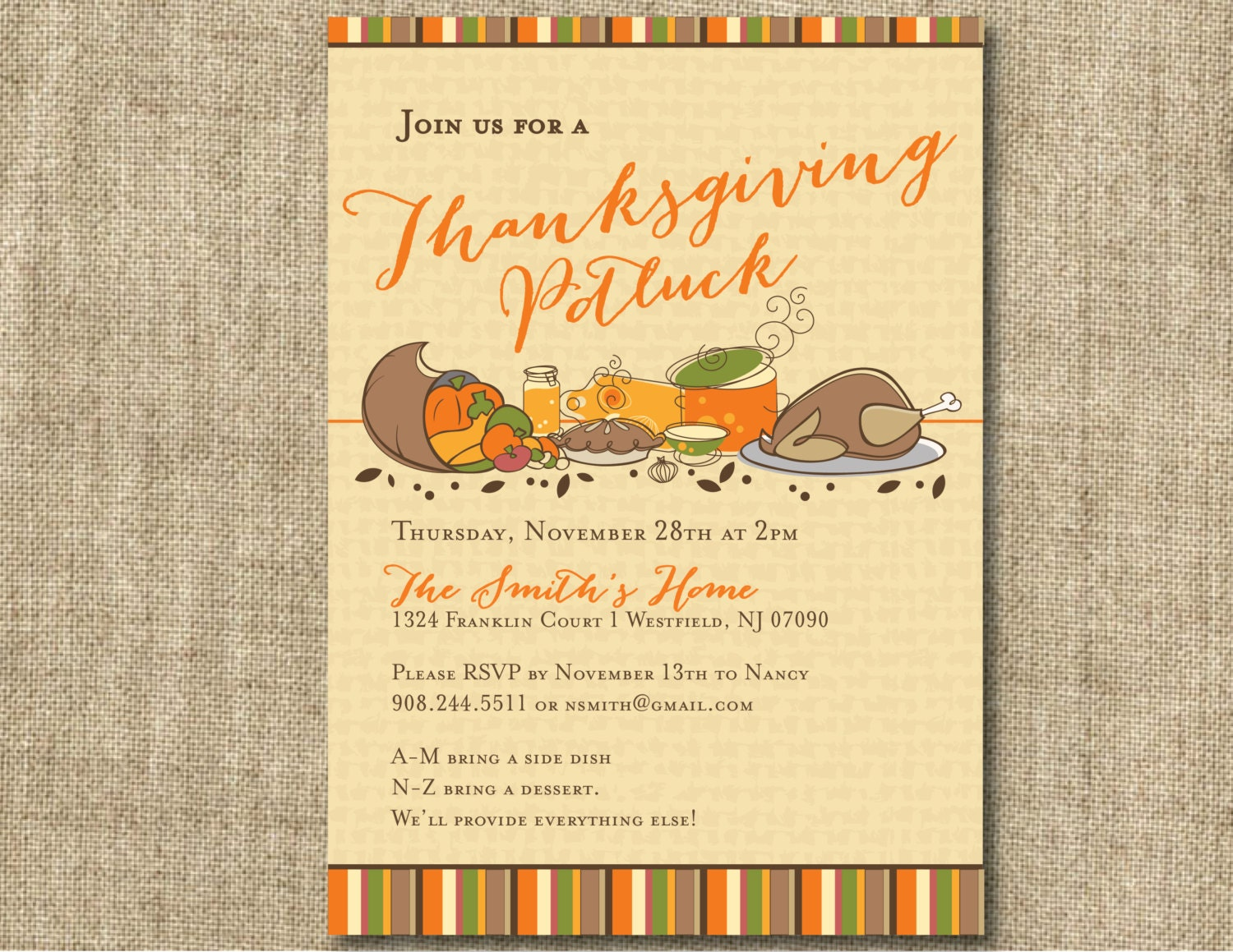 Thanksgiving Potluck Invitation – Thanksgiving Party Invitation Wording
