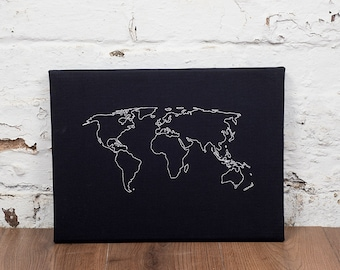 Cork world map etsy world map notice board cork world map world map pin board world map gumiabroncs Image collections