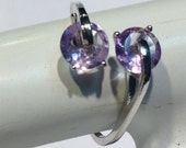 The Cool Fire Amethyst double star Sterling Silver 925 Ring