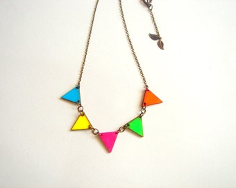 Neon Bunting Necklace, Wood Triangles Necklace,Bunting Necklace,Geometric Jewelry