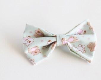 Mint Green Hair Bow // Medium Handmade Girls Hair Bow // Bear Hair Bow // Gifts for kids