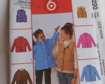 McCall's Sewing Pattern 4220 Children's/Girls' Unlined Jackets and Vests in Size 3, 4, 5, 6