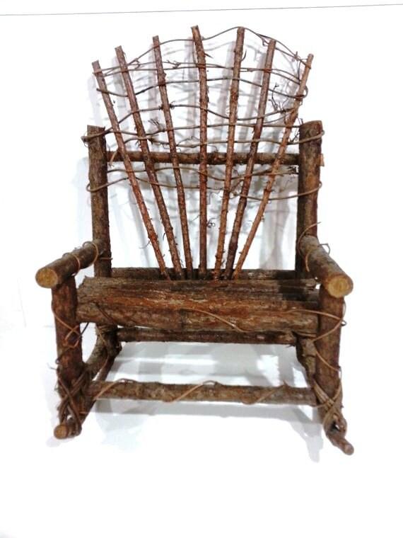Twig Stick Branch Wood Toy Doll Rocking Chair Vintage