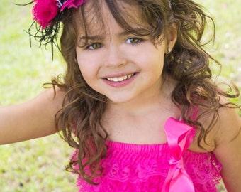 Hot Pink Zebra Stripe Couture Headband, Baby Girl Headband, Birthday Headband, Boutique Headband, Toddler Headband, Infant Headband