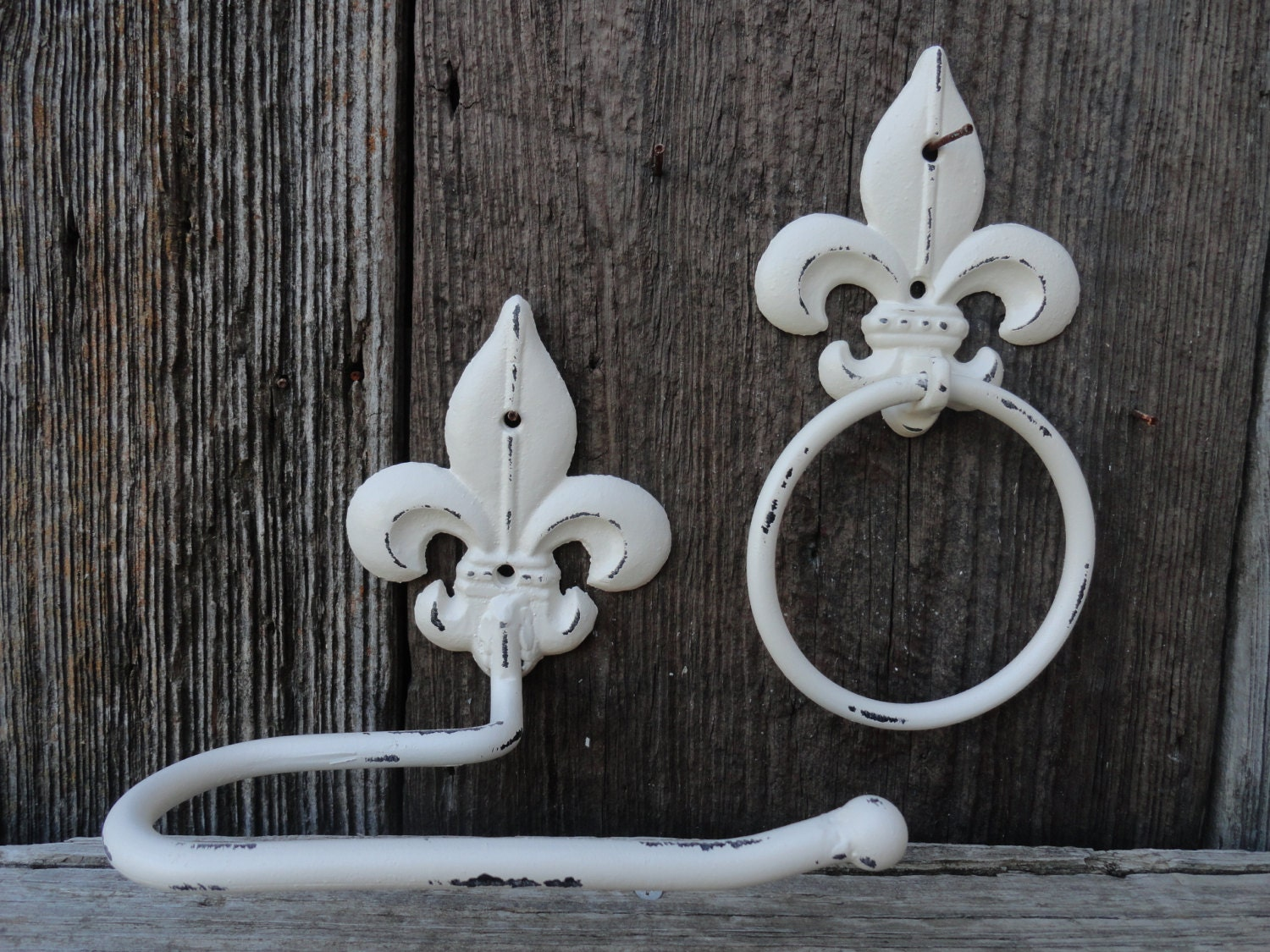 Fleur de lis hand towel ring toilet tissue holder antique - Fleur de lis toilet paper holder ...