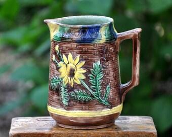 Large Damaged Majolica Pitcher, Majolica pottery, Antique majolica, beautiful