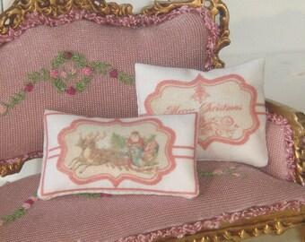 Two Dollhouse  Vintage Chistmas pillows. 1:12 dollhouse miniature pillow.