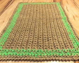 Jute Doormat Crochet Rug Door Rug Handmade By Magicbycrochet