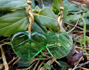 Green Leaf Glass Earrings