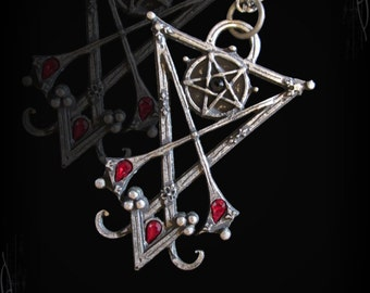 Handmade Sigil of Lucifer, satanic pendant, gothic jewelry, satanic jewelry