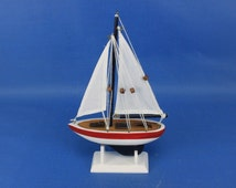 "White Sail Red Rim 9"" Sailboat Wedding Cake Topper / Sail Boat Cake Toppers / Nautical Cake Toppers / Nautical Wedding Decor"