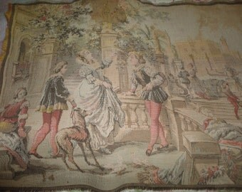 French Tapestry Wall Hanging Napped Rug Victorian Wall Decor Antique Wall Art