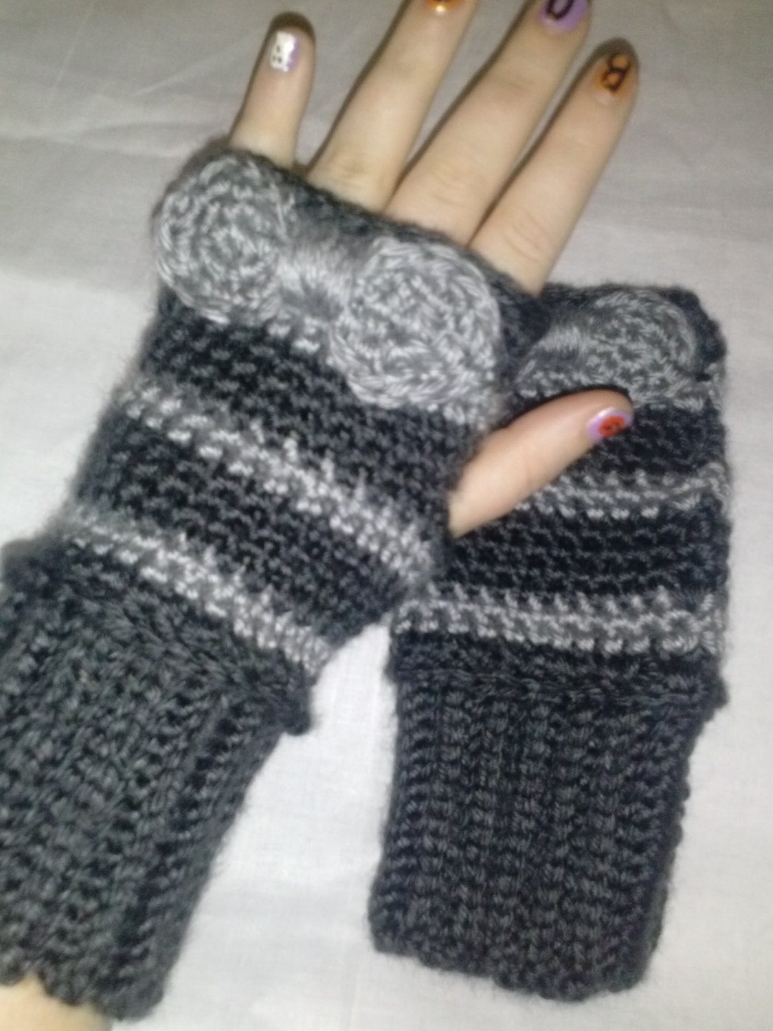 cute bow crochet fingerless gloves